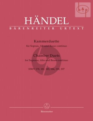 Kammerduette (Chamber Duets) (HWV 178 - 181 - 185 - 186 - 190 and 197) (Soprano-Alto with Bc)