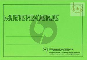 Muziekschriftje met 6 balken notenpapier plus schrijflijntjes Groen