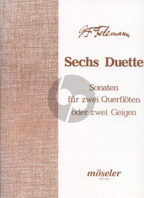 6 Duette TWV 40:101 - 106 (1727) 2 Flutes or 2 Violins (Playing Score)