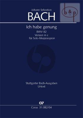 Kantate BWV 82 Ich habe genug (Mezzo-Sopr.) Vocal Score