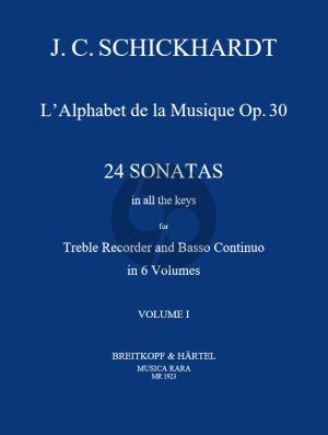 Schickhardt L'Alphabet de La Musique Op.30 - 24 Sonatas Vol.1 No.1-4 Treble Recorder and Bc (Edited by Paul J. Everett)