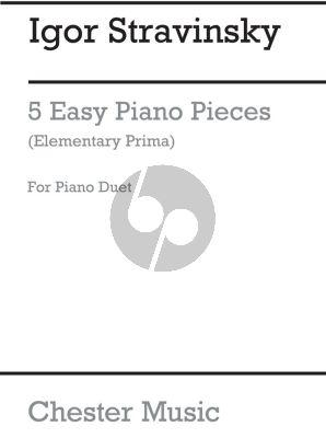 Strawinsky 5 Easy Pieces piano 4 hands (Elementary Prima)