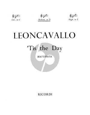 Leoncavallo Tis the Day - La Mattina Medoim Voice (in D) and Piano (English-Italian)