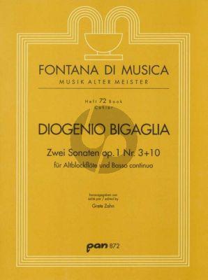 2 Sonaten Op. 1 No. 3 und 10 für Altblockflöte und Bc.