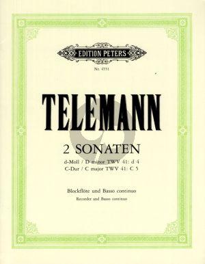 Telemann 2 Sonaten (aus Essercizii Musici) fur Altblflockflote und Bc (Herausgegeben von Waldemar Woehl)