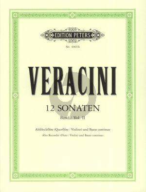 Veracini 12 Sonaten Vol.2 (No.4-6) Alblockflote [Flote/Violine] und Bc (Herausgegeben von Walter Kolneder)