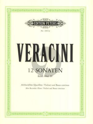 Veracini 12 Sonaten Vol.4 (No.10-12) Alblockflote [Flote/Violine] und Bc (Herausgegeben von Walter Kolneder)