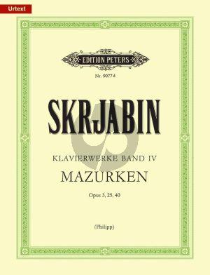 Scriabin Klavierwerke Band 4 Mazurken Op.3 - 25 - 40 Klavier (Herausgegeben von Gunter Philip)