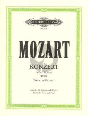 Mozart Concerto D-major KV 218 (Violin-Orch.) (piano red.) (edited by Oistrach-Weismann) (with Cadenzas of Joachim and David)