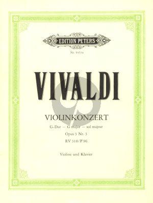 Vivaldi Konzert G-dur Op.3 No.3 RV 310 Violin-Piano (Thiemann-Gerdes)