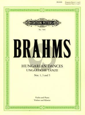 Brahms Hungarian Dances No.1 - 3 - 5 Violin and Piano (edited by Julius Klengel)