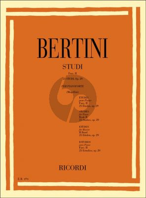 Bertini 25 Studies Op.29 Piano (Bruno Mugellini)