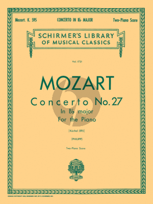 Concerto No.27 B-flat Major KV 595 reduction 2 Pianos Edited by I Philipp