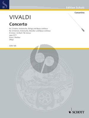 Concerto d-moll Op.3 No.11 RV 565 2 Violinen-Violoncello[obl.]-Streicher-Bc Partitur