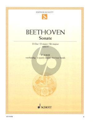 Beethoven Sonate D-dur Op. 6 Klavier 4 Hd (Monika Twelsiek)