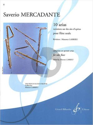 Mercadante 10 Arias pour Flute seule (Variations sur des Airs d'Operas)