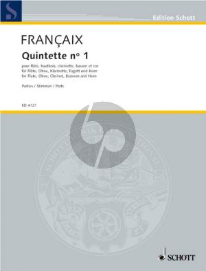 Francaix Quintette No.1 Flute-Oboe-Clar. in A-Horn-Bassoon (1948) (Parts)
