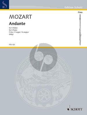 """Mozart Andante F-major KV 616 """"Ein Stuck fur eine Walze in eine kleine Orgel"""" 4 Flutes (Score/Parts) (arr. Stefan Hiby)"""