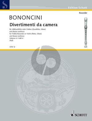 Bononcini Divertimenti da Camera Vol.4 Treble Rec.[Fl./Ob./Vi.] (Violonc.) [Viola da Gamba ad lib.) mit Bc (Hugo Ruf)