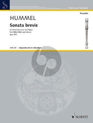 Hummel Sonata Brevis Op. 87b Altblockflöte und Klavier (1987)