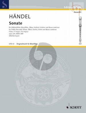 Sonate No.2 No.4 F-major HWV 389 (Treble Rec. [Fl./Ob./ Vi.]-Vi.-Bc)
