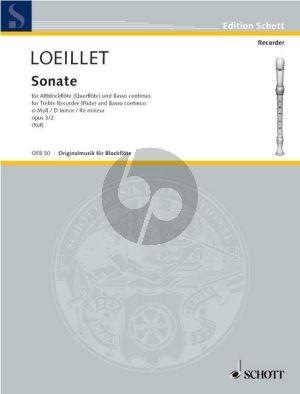 Loeillet Sonate d-moll Op. 3 No. 2 Altblockflöte und Bc (Hugo Ruf)