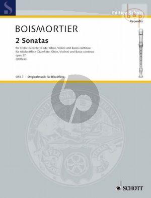 2 Sonatas from Opus 27 Treble Recorder (Fl./Ob./Vi.)-Bc