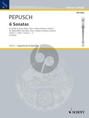 Pepusch 6 Sonaten Vol.1 (Nos.1-3) Treble Rec.[Fl./Ob./Vi.]-Bc (Giesbert)
