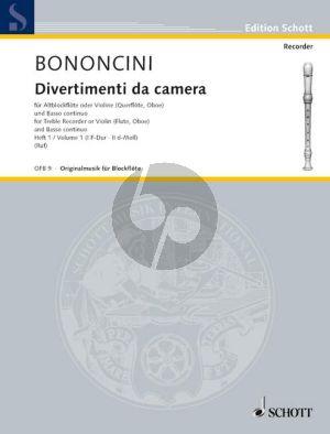 Bononcini Divertimenti da Camera Vol.1 Treble Rec.[Fl./Ob./Vi.]) (Violonc.[Viola da Gamba] ad lib.) mit Bc (Hugo Ruf)