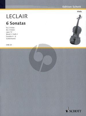 Leclair 6 Sonaten Op.12 Vol.2 (No.4 - 6 ) 2 Violas (Spielpartitur) (Herausgegeben von Walter Lebermann)
