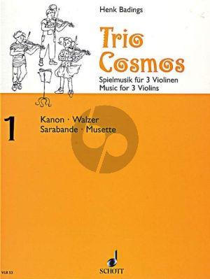 Badings Trio Cosmos No.1 3 Violinen (Spielpartitur)