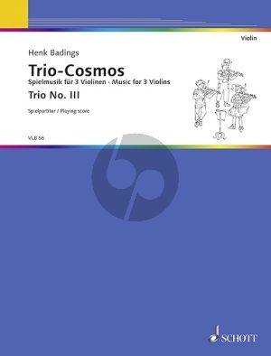 Badings Trio Cosmos No.3 3 Violinen (Spielpartitur)