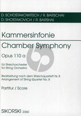 Shostakovich Kammersinfonie fur Streichorchester Op.110A (Arrangiert nach dem Streichquartett No.8) Taschenpartitur (Arrangiert von Rudolf Barschai)