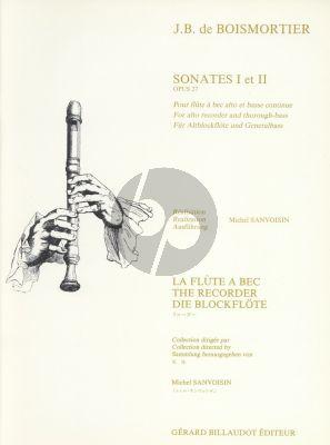 Boismortier Sonatas Op. 27 No.1 - 2 Treble Recorder-Bc (Michel Sanvoisin)