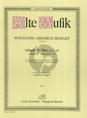 Mozart Adagio B-flat major KV 411 Flute-Oboe-Clar.-Horn-Bassoon (Parts) (Weigelt)