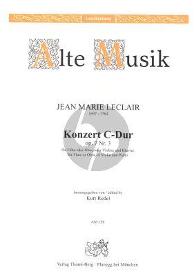Leclair Konzert C-dur Op.7 No.3 Flote oder Oboe und Streichorchester Ausgabe Flote [Oboe/Violine] und Klavier (Herausgegeben von Kurt Redel)
