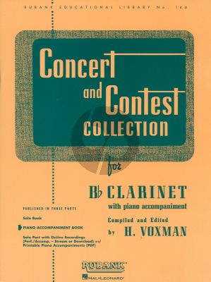 Concert and Contest Collection Piano Accompinament Book for Clarinet (Compiled and Edited by H. Voxman) (Rubank Educational Library No. 144)