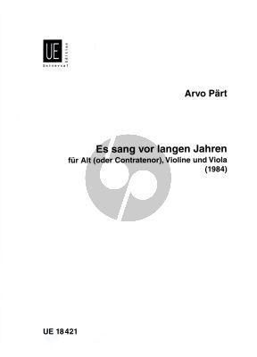 Part Es sang vor langen Jahren Alt oder Contratenor mit Violine und Viola