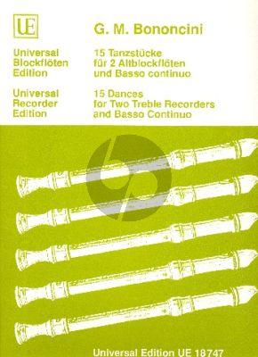 Bononcini 15 Dances 2 Treble Recorders-Bc (edited by Siegfried Petrenz)