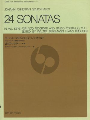 Schickhardt 24 Sonatas Vol.1 for Alto Recorder and Basso Continuo (Edited by Walter Bergmann, Frans Brüggen)