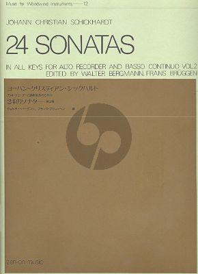 Schickhardt 24 Sonatas in All Keys Vol.2 Treblerecorder and Bc (Edited by Walter Bergmann and Frans Bruggen)
