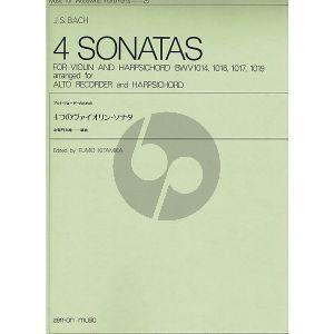4 Sonatas for Violin & Harpsichord BWV 1014 , 1016 , 1017 , 1019 arranged for treble recorder & harpsichord by Fumio Kitamika