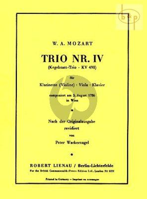 "Trio No.4 KV 498 ""Kegelstatt Trio"" Clarinet(Violin)-Viola-Piano"