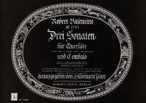 Valentine 3 Sonaten Sopranblockflöte (Flöte / Oboe / Violine) - BC (Hildemarie Peter)