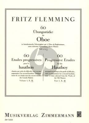 Flemming 60 Ubungsstucke Vol. 3 in fortschreitender Schwierigkeit mit 2.Oboe als Begleitstimme