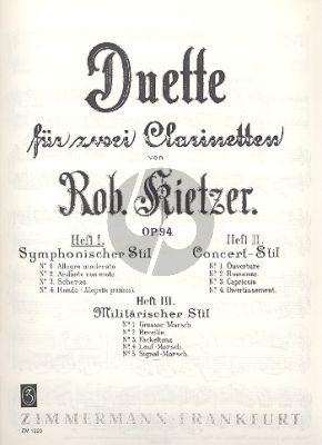 Duette Op.94 Vol.1 Sinfonischer Stil 2 Klarinetten