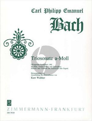 Bach Triosonate a-moll WQ 148 Flöte-Violine[Ob.]-Bc) (Part./Stimmen) (Kurt Walther)