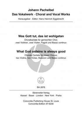 Pachelbel Was Gott tut, das ist wohlgetan Mixed Chorus, 2 Vi- 2Va-Bassoon-Bc