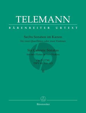 Telemann 6 Sonaten im Kanon Op.5 Vol.2 2 Violins or 2 Flutes (TWV 40:118-123) (Günter Hauswald)