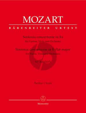 Mozart Sinfonia Concertante E-flat major KV 364 (320d) (for Violin, Viola and Orchestra Fullscore) (Ed. Christoph-Hellmut Mahling)